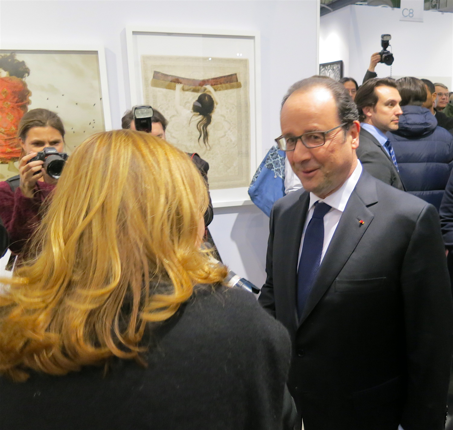 French President Hollande at the inauguration of Art Paris 2016 ©Sylvia Davis